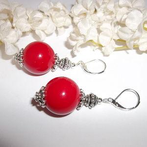 Red Statement Earrings Dangle Drop Beaded 2834